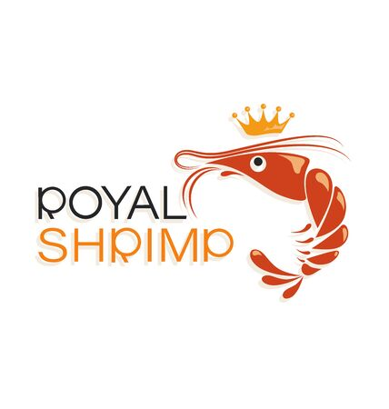 Royal shrimp and crown. Symbol and inscription. Emblem Logo design, shop, processing plant. The inscription with a shadow on a white background.