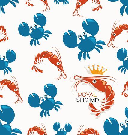 Royal shrimp. Blue crabs and red shrimps. Seamless pattern. Symbol and inscription. Background image for restaurant, shop, processing plant, packaging design.