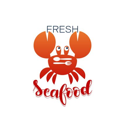 RED CRAB with fork and spoon. Fresh seafood. Logo. Design for the restaurant, shop, processing plant. Lettering White background.