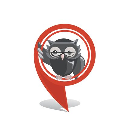 Red location marker and owl. Location sign, marker icon, GPS. Vector pointer to the school, college, university, library.
