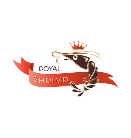 ROYAL SHRIMP with red ribbon. Emblem  design, shop, processing plant. Illustration