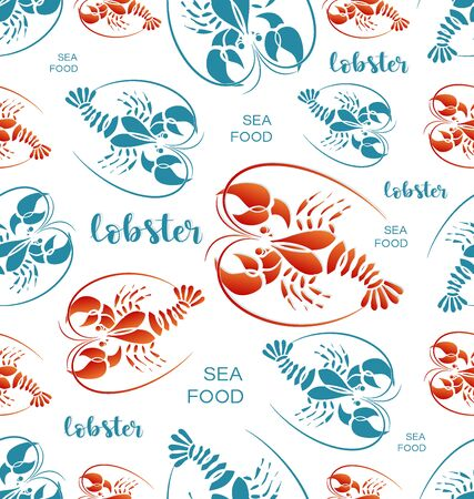 Lobsters. SEAFOOD. Seamless pattern. Symbol and inscription. Background image for restaurant, bar, shop, processing plant, packaging design.