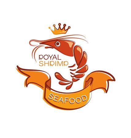 ROYAL SHRIMP with orange ribbon. Emblem shop, processing plant.