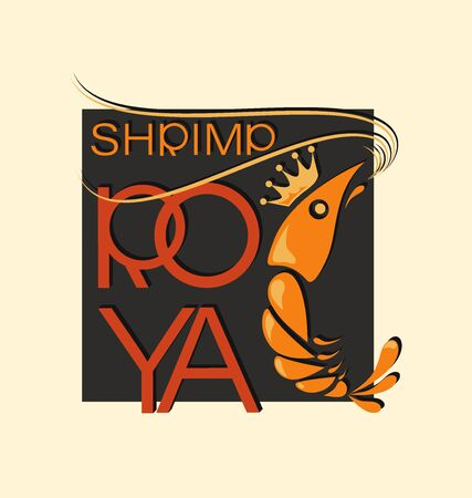 Royal shrimp in squared. Symbol and inscription. Emblem shop, processing plant. The inscription with a shadow.