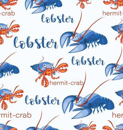 Lobsters and hermit crabs. Seamless pattern. Funny characters. Background image for childrens textiles, seafood store, packaging design.