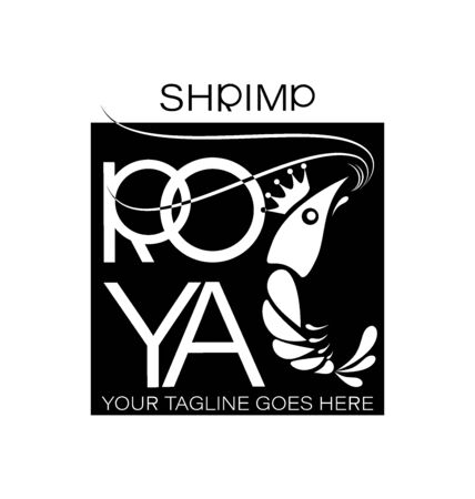 Royal shrimp design on black background. A restaurant, a shop, a processing plant.