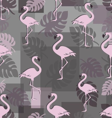 Pink flamingos with tropical leaves. Seamless pattern. Romantic background with tropical birds. Trendy pink birds among tropical foliage and geometric shapes.
