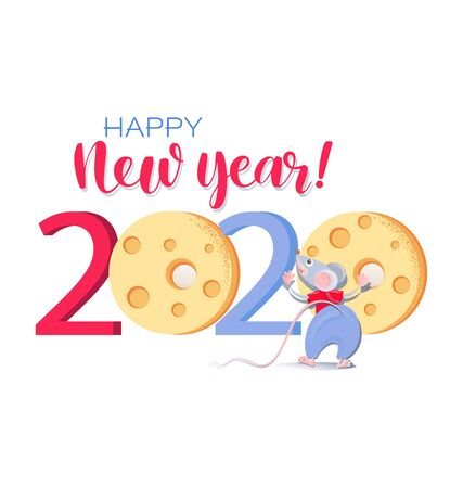 Greeting ard with Cute rat and cheese. Chinese new year 2020. Concept design for Happy New Year, Xmas holidays. Zodiac mice of Animal lucks year 2020 of the rat.