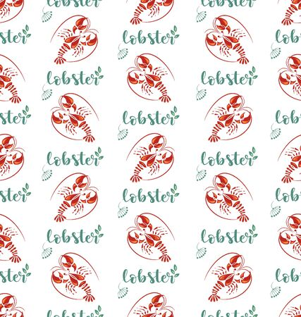 Lobsters, the inscription and herbs. Seamless pattern with seafood. Background image for a thematic site, textile, bar, restaurant, seafood store, packaging design. Vettoriali