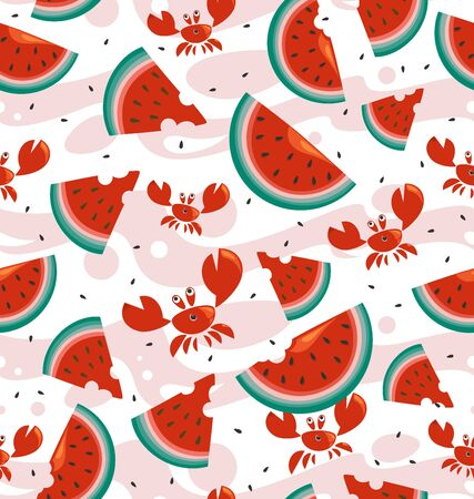 Sea ripe watermelons and red crabs. Seafood seamless background. Background image for a thematic site, textile, bar, restaurant, shop, packaging design.