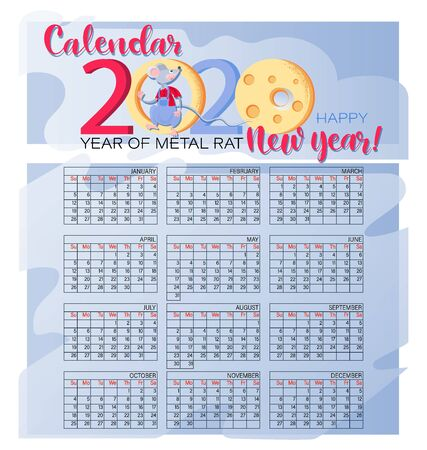 Monthly creative calendar 2020. Funny Rat and cheese. Happy new year. Concept, vector vertical editable template. Symbol of the year in the Chinese calendar. Set 12 months.