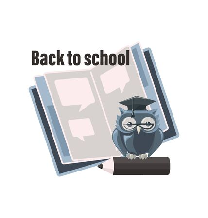 Erudite owl with an open notebook and a pencil. Back to school. The emblem for the design of a notebook, notepad, planner, organizer, bookmark or bookshelf. Illustration