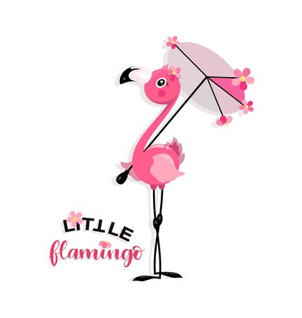 Pequeño flamenco rosado con un paraguas del sol. Rotulación a mano con flamencos. Bueno para camisetas de bebé, carteles, textiles, regalos, kits de viaje.