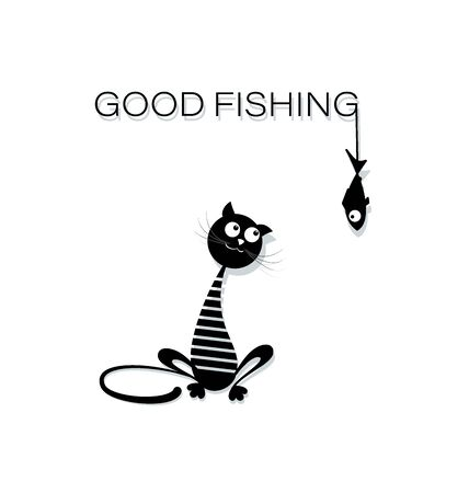 Good fishing. Black cat in a sailor suit. Funny cat sailor in cartoon style. Design for printing on a t-shirt, textiles, youth clothes.