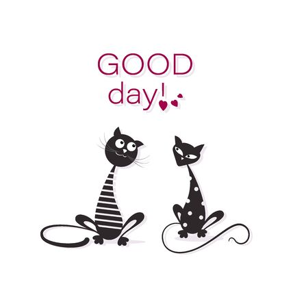 Pair of black cats. GOOD DAY. Cartoon characters. Funny cat sailor and cute cat in white pea. Emblem design for textiles, print on paired t-shirts.