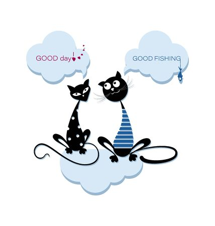 Pair of black cats in the clouds. Emblem. Cat in a sailor shirt and a polka-dot cat are sitting on a cloud. Design for printing on a t-shirt, textiles, packaging materials. 일러스트