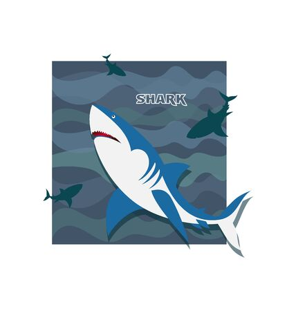 Shark. Flock of frolicking sharks. Poster Development of emblems for a thematic site, diving club and diving.