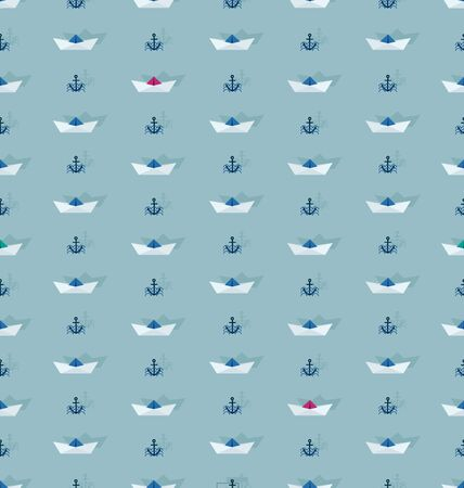 Seamless pattern with paper boat and anchor. Design of a nautical pattern with paper boats and anchors on the waves for children's textiles. Banque d'images - 132815335