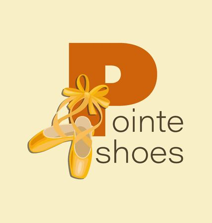 Pointe shoes with ribbon and bow. Red capital letter and inscription Pointe shoes. Yellow pointe shoes for a dancing girl. Shoes for the ballerina. Design for poster, flyer.
