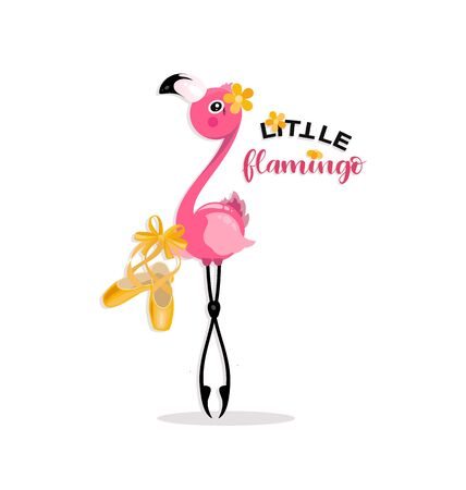 Little flamingo with pointe shoes. Yellow pointe shoes for pink flamingos. Flamingo dancing. Prima ballet.