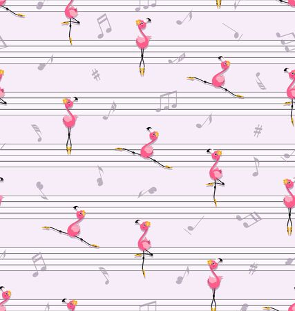Dance of pink flamingos. Music and music notes. Little flamingo in yellow pointe shoes. Seamless pattern.