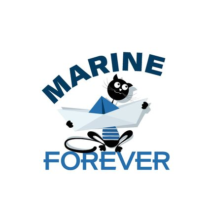 Cat sailor with a paper boat. Marine forever. Emblem. Design of marine drawing with a paper boat, a cat and an inscription for children's textiles. Banque d'images - 132815352
