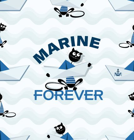 Cat sailor with a paper boat on a wavy background. Marine forever. Seamless pattern. Design of marine drawing with a paper boat, a cat and an inscription for children's textiles. Banque d'images - 132815354