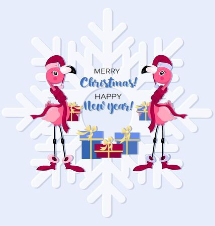 Pink flamingos with gifts. Merry christmas and happy new year. Festive greeting with two flamingos in a hat of Santa Claus on a background of snowflakes. Vector christmas greeting card. Ilustração