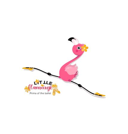 Flight of a little flamingo in twine. Prima of the ballet. Yellow pointe shoes for pink flamingos. Flamingo is dancing. Standard-Bild - 132815390