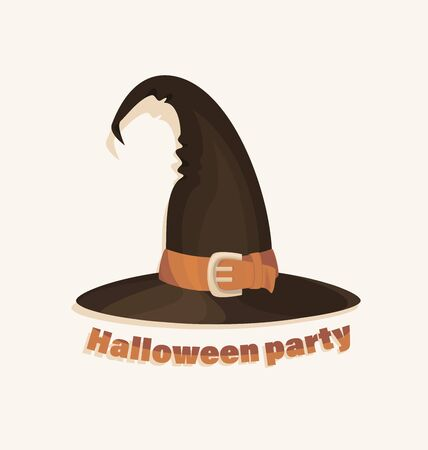 Halloween witch hat. Icon. Halloween party invitations with old hat. Design element for Halloween. Design concept for banner, holiday party. Flat style. Banque d'images - 132815410