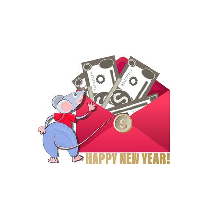 Money stacks in an envelope. Mice - symbol 2020 year. HAPPY NEW YEAR. Dollars in open red envelope. Cash icon. Financial gift. Sending, receiving, rewarding.