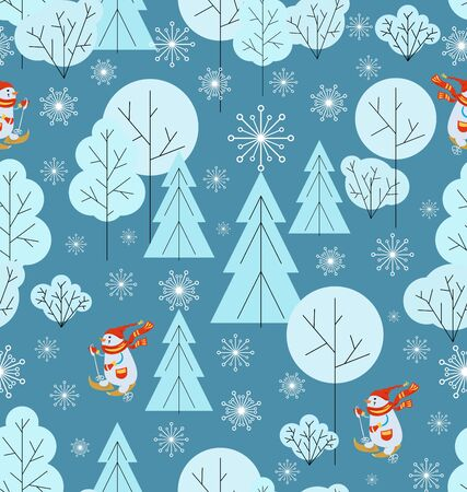 Christmas background. Winter forest, snowmans runs skiing. Snowflakes Seamless pattern. Snow background with fir trees, trees, bushes and Noble deers. Minimalist style, cool colors.