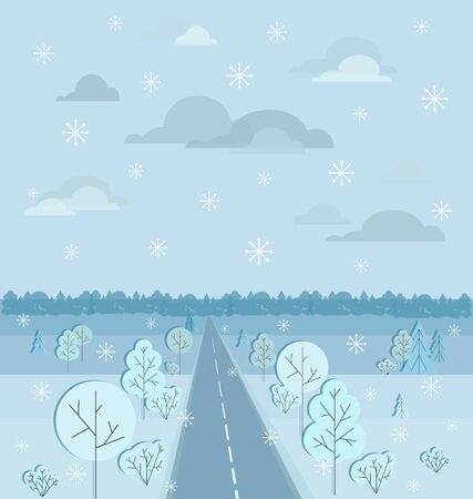 Christmas background. Winter forest. Fairy tale winter landscape. Snow in winter forest, pine trees and snowflakes on semicircle of the earth. There is a place for text. Greeting card template. Çizim
