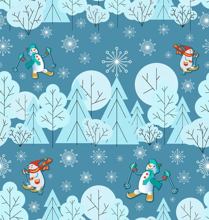 Winter background. Snow-covered forest, snowmen are skiing. Snowflakes Seamless pattern. Snow background with fir trees, trees, bushes and red deers. Minimalist style, cool colors. 일러스트