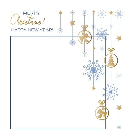 Christmas New Year. Festive frame with toys, angels, spruce, snowflakes, stars. Background, garland, decoration for greeting. Happy winter holidays. Vector illustration on a white background.