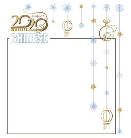 Christmas Chinese New Year. Festive garland. Concept festive frame. Computer mouse and 2020. Ornament elements hanging on a white background. Vector. Çizim