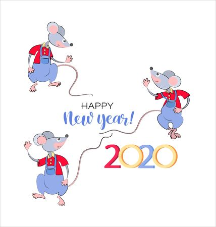 Set. Funny mice. 2020. New Year and Christmas characters. Isolated over white background. Cartoon rats for your design greeting cards, calendars, print on t-shirts. Vector. Banco de Imagens - 135684200