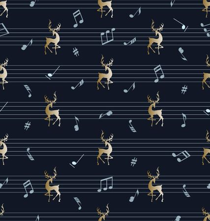 Musical background. Golden deer, musical notes and stave. Seamless striped pattern. Design for textile, festive decoration, background image.