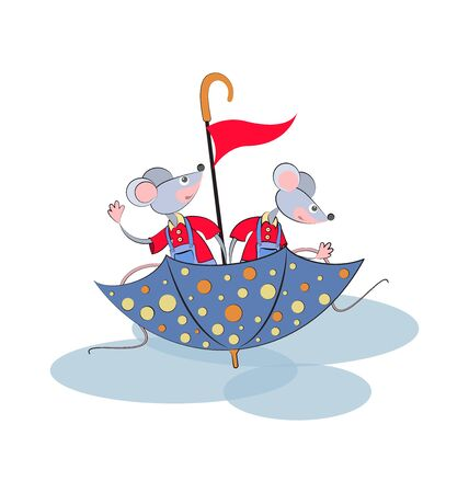 Emblem. Funny mice swim on an umbrella. Cartoon characters. Design for children's textiles, t-shirts, banner, poster. Vector illustration isolated on a white background.