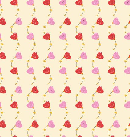 Cute hearts seamless pattern. Valentines day background. Flying red, pink heart-shaped balloons. Ornament, background image on a yellow background. Design for textile, holiday packaging.