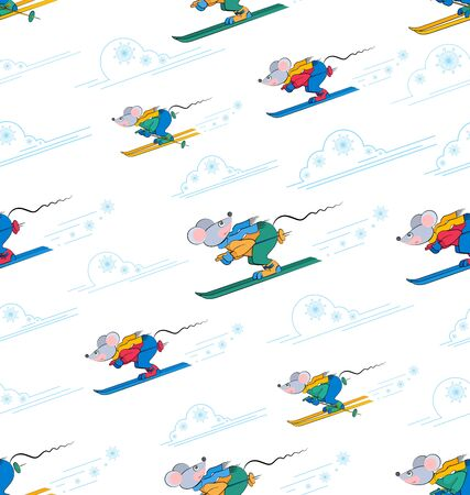 Skiers. Winter sports background. Mouse skiers in motion. Funny cartoon characters. Symbol of Chinese 2020 New Year. Vector illustration on a striped background with clouds and snowflakes.