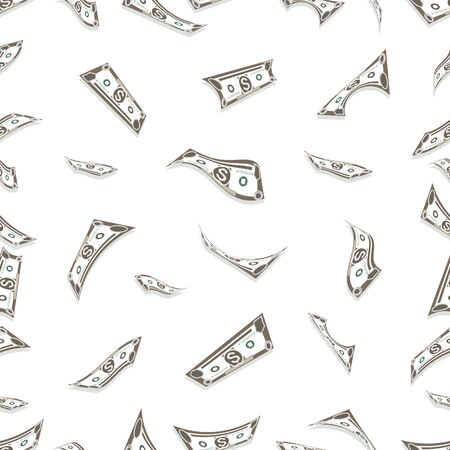 Money background. Cash flow. Dollar banknotes falling from above. Seamless pattern. Lots of cash. Dollars sign. Business concept. Vector illustration isolated on a white background.