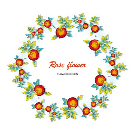 Rose flower. Floral wreath, frame, background. Elements of vector illustration isolated on white background. The contour of a rose flower for wrapping a birthday present, wedding, engagement.