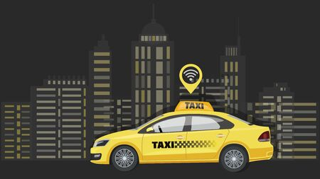 Taxi car. City background. Ordering taxi. Poster with city transport. City silhouette with skyscrapers and towers. Taxi branding mockup. Vector illustration.