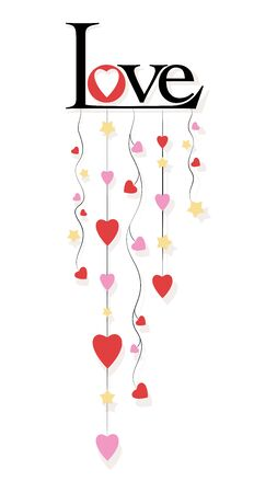 Love. Heart garland. Vector background, poster, card for Valentine's Day, birthday, wedding, March 8, International Women's Day. Standard-Bild - 138828021