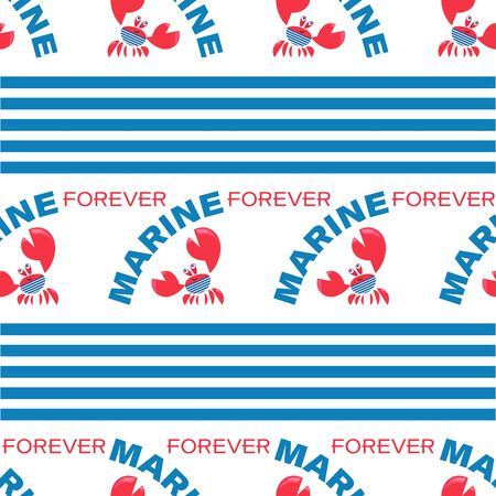 Seamless pattern with funny red crabs and stripes on a white