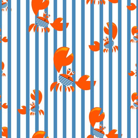 Sea crab background. Crab Sailor. Seamless striped pattern. Funny red crab on the background of a striped sailors shirt. Vector illustration for design of childrens textiles.