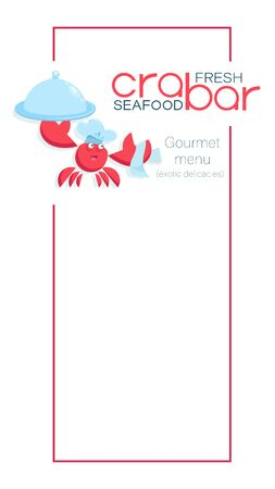 Menu template. Crab bar. Menu design elements. The background is white. Vector illustration of a seafood menu with place for food prices. Иллюстрация