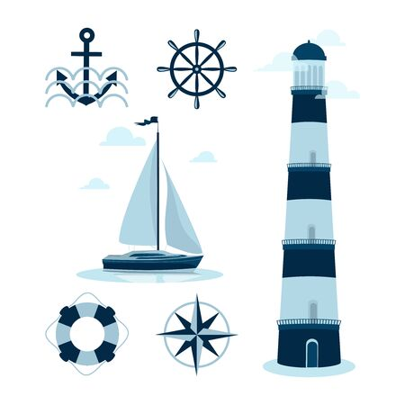 Marine set. Sailing yacht, lighthouse, helm and compass. Vector illustration isolated on white background with elements of marine subjects for the poster, banner, sticker.