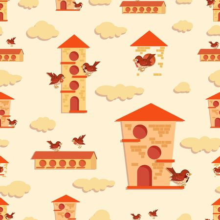 Sparrow background. Birdhouse pattern. Vector spring set with birds near houses and clouds. Design for children's clothing, fabric, textile, baby jewelry.